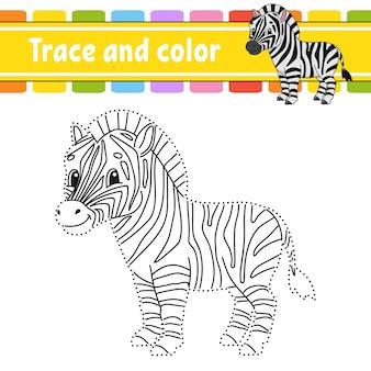 Overtrekken en kleuren. kleurplaat voor kinderen. handschrift oefenen.