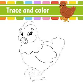 Overtrekken en kleuren kleurplaat voor kinderen met pasen-thema