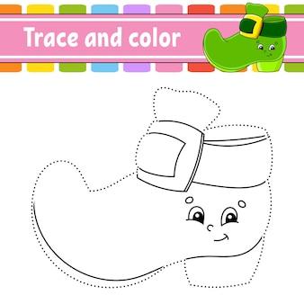 Overtrekken en kleuren. kleurplaat voor kinderen. st. patrick's dag.