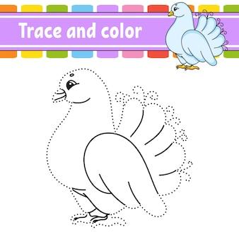 Overtrekken en kleuren. kleurplaat voor kinderen.