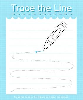 Overtrekken en kleuren: teken het lijnwerkblad voor kleuters - krijt