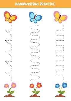 Overtreklijnen voor kinderen met kleurrijke vlinders en bloemen. handschriftoefening voor kinderen.
