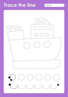 Overtreklijnen voorschoolse werkblad voor kinderen voor het oefenen van fijne motoriek