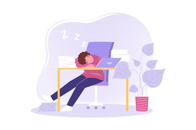 Overwerk, slaap, freelance, vermoeidheid, stress, bedrijfsconcept.