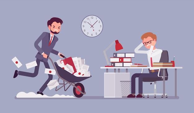 Overwerkt op kantoor Premium Vector