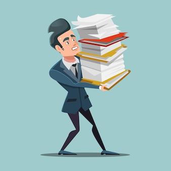 Overwerkte zakenman met enorme stapel documenten. papierwerk.