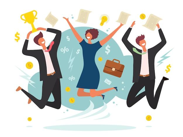 Overwinning bedrijfsconcept. winnende springende mannelijke en vrouwelijke team van gelukkige mensen plaatsen vlakke karakters