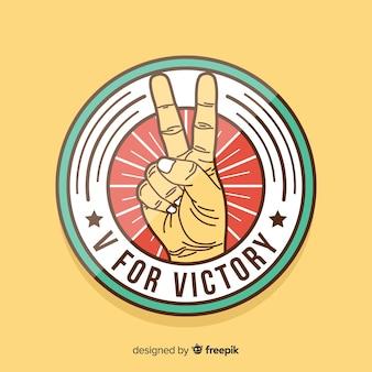 Overwinning hand vredesteken achtergrond