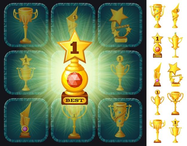 Overwinning met beloning gouden beker.
