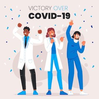 Overwinning op coronavirus cocnept