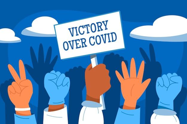 Overwinning op coronavirus illustratie