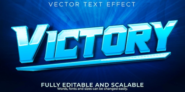 Overwinning sport teksteffect, bewerkbare esport en gamer tekststijl