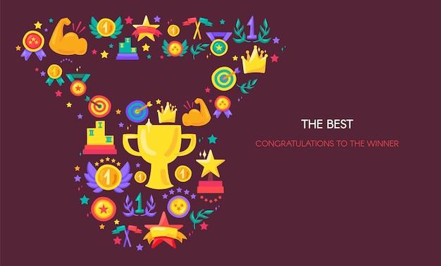 Overwinning, win vector platte banner. medaillevorm met handgetekende sportpictogrammen. winnaar viering