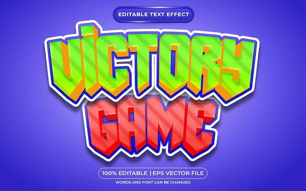 Overwinningsspel 3d-bewerkbaar teksteffectspel en cartoonstijl