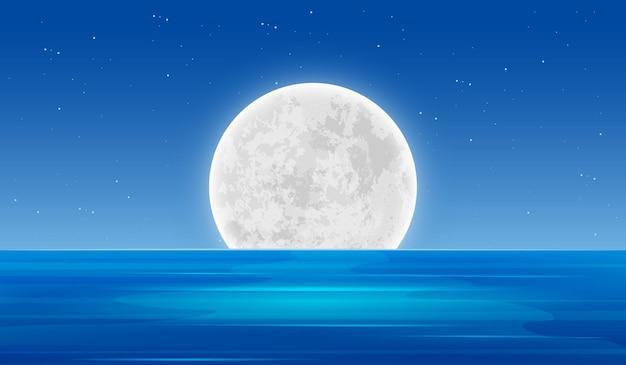 Overzees landschap bij nacht