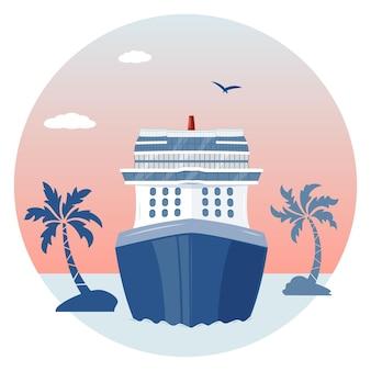 Overzees landschap met cruiseschip, palmbomen en wolken
