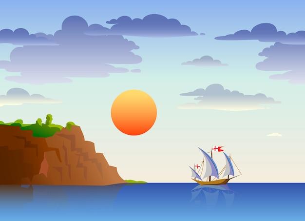 Overzees landschap met schip