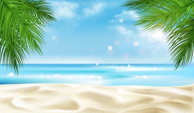 Overzees strand met de achtergrond van palmbladeren, de zomer