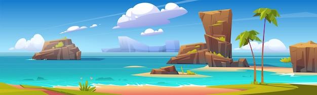 Overzees strand met grote rotsen