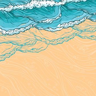 Overzeese golven en strandillustratie