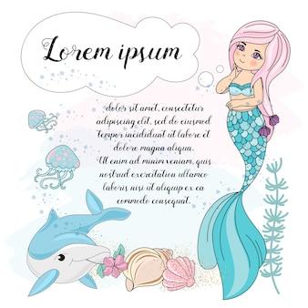 Overzeese onderwater vectorillustratiereeks mermaid droom