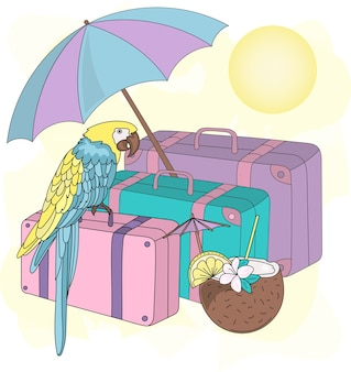 Overzeese reis clipart color vector illustration set