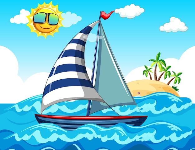 Overzeese scène met een zeilboot