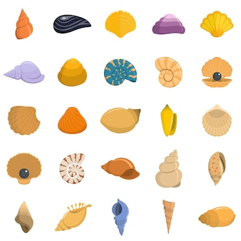 Overzeese shell pictogrammen geplaatst geïsoleerde vector