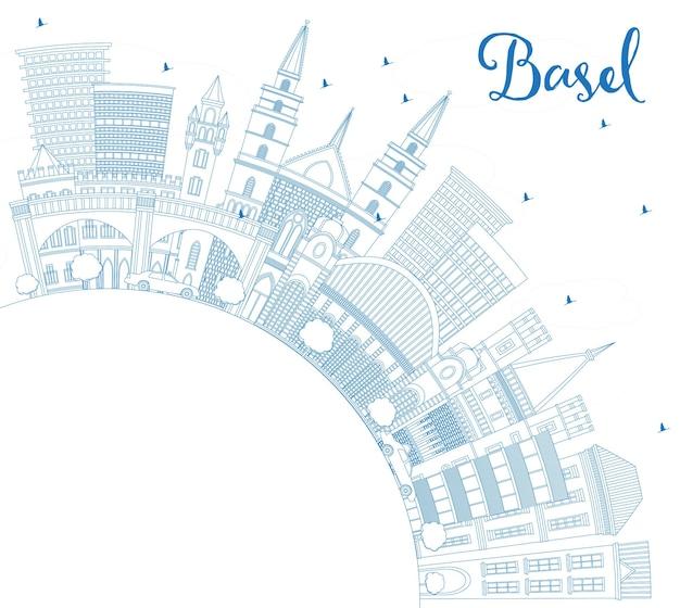 Overzicht basel zwitserland city skyline met blauwe gebouwen en kopie ruimte. vectorillustratie. zakelijk reizen en toerisme concept met historische architectuur. basel cityscape met monumenten.