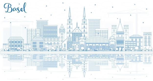 Overzicht basel zwitserland city skyline met blauwe gebouwen en reflecties. vectorillustratie. zakelijk reizen en toerisme concept met historische architectuur. basel cityscape met monumenten.