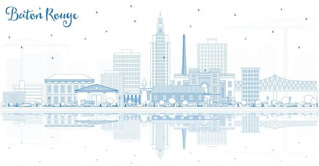 Overzicht baton rouge louisiana city skyline met blauwe gebouwen en reflecties vectorillustratie