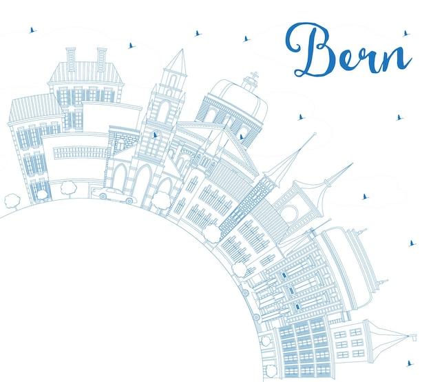 Overzicht bern zwitserland city skyline met blauwe gebouwen en kopie ruimte. vectorillustratie. zakelijk reizen en toerisme concept met historische architectuur. bern stadsgezicht met monumenten.