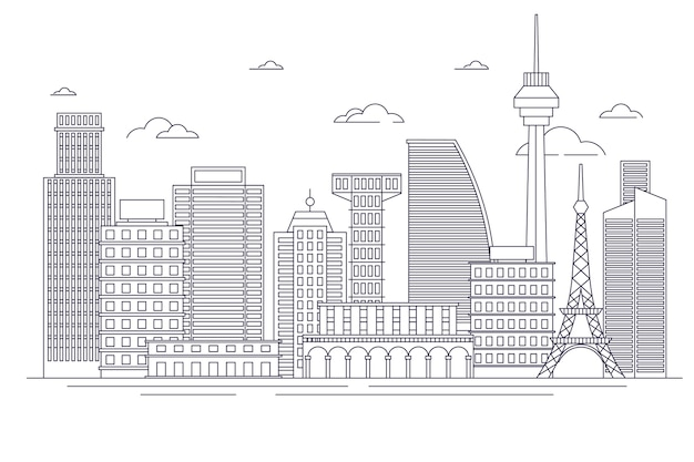 Overzicht bezienswaardigheden skyline concept
