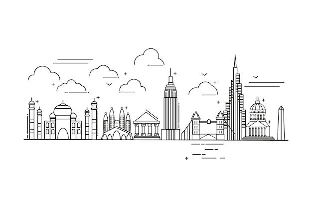 Overzicht bezienswaardigheden skyline toerisme