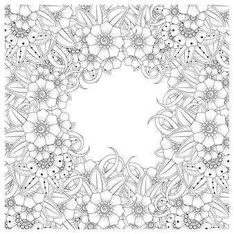 Overzicht bloemvierkant in mehndi-stijl voor het kleuren van de boekpagina