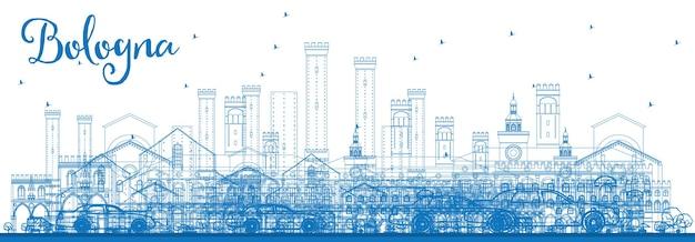Overzicht bologna skyline met blauwe monumenten. vectorillustratie. zakelijk reizen en toerisme concept met historische gebouwen. afbeelding voor presentatiebanner plakkaat en website.