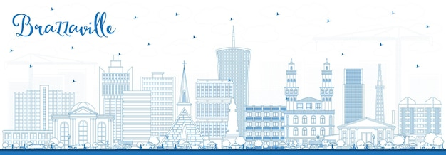Overzicht brazzaville republiek congo city skyline met blauwe gebouwen. vectorillustratie. zakelijk reizen en toerisme concept met historische architectuur. brazzaville stadsgezicht met monumenten.