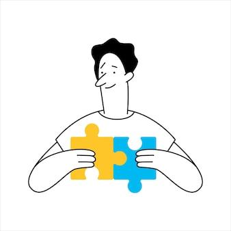 Overzicht cartoon man verbindende puzzelelementen, puzzelstukje. bedrijfsidee, oplossing, probleemoplossing, productbeheer, uitdagingsconcept. hand tekenen illustratie.