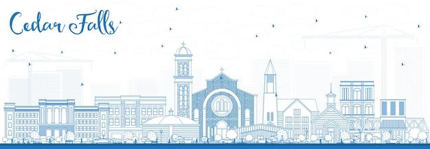 Overzicht cedar falls iowa skyline met blauwe gebouwen. vectorillustratie. zakelijke reizen en toerisme illustratie met historische architectuur.