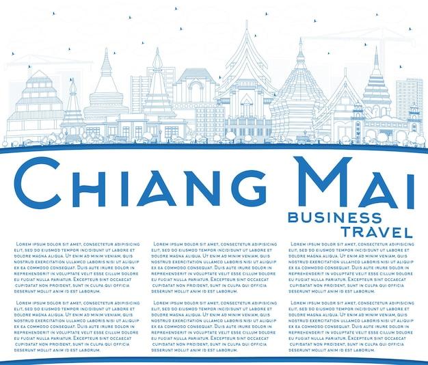 Overzicht chiang mai thailand city skyline met blauwe gebouwen en kopie ruimte. vectorillustratie. zakelijk reizen en toerisme concept met moderne architectuur. chiang mai stadsgezicht met monumenten.
