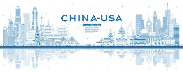 Overzicht china en de vs skyline met blauwe gebouwen en reflecties. bekend herkenningspunt. vectorillustratie. vs en china handelsoorlog concept.