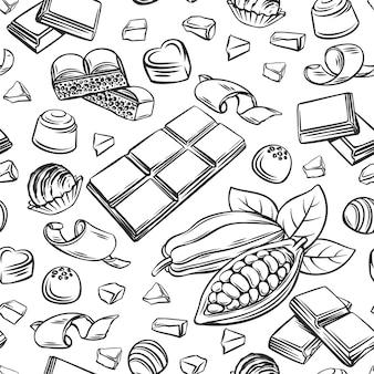 Overzicht chocolade naadloze patroon