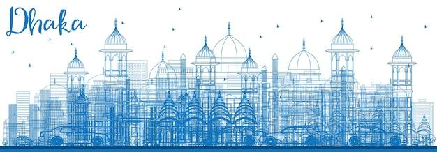 Overzicht dhaka skyline met blauwe gebouwen. vectorillustratie. zakelijk reizen en toerisme concept met historische gebouwen. afbeelding voor presentatiebanner plakkaat en website.