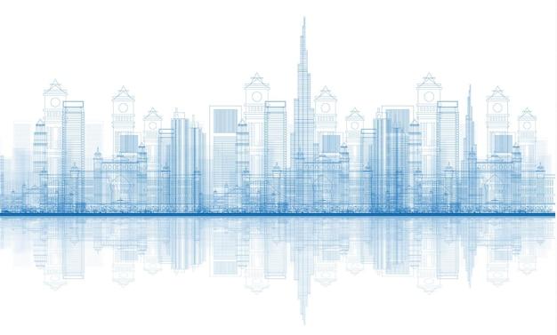 Overzicht dubai city wolkenkrabbers skyline met reflecties. vectorillustratie.