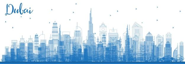 Overzicht dubai uae skyline met blauwe gebouwen. vectorillustratie. zakelijke reizen en toerisme illustratie met moderne architectuur. dubai stadsgezicht met monumenten.