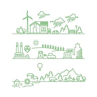 Overzicht eco-stad. toekomstige ecologische groene omgeving en ecosysteem vectorconcept