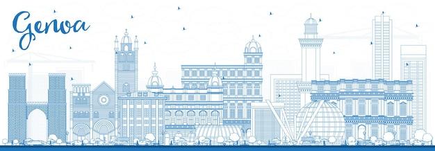 Overzicht genua italië city skyline met blauwe gebouwen. vectorillustratie. zakelijk reizen en toerisme concept met moderne architectuur. genua stadsgezicht met monumenten.