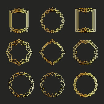 Overzicht gouden emblemen en badges frames