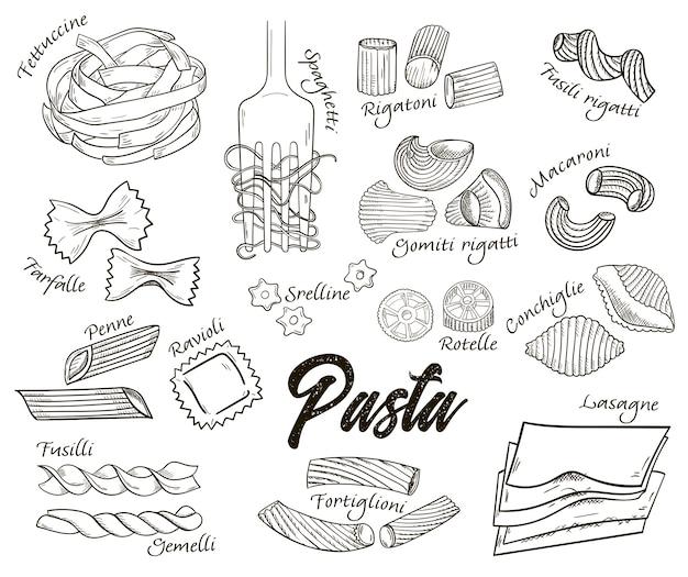 Overzicht hand getrokken italiaanse pasta set met namen in vintage stijl.