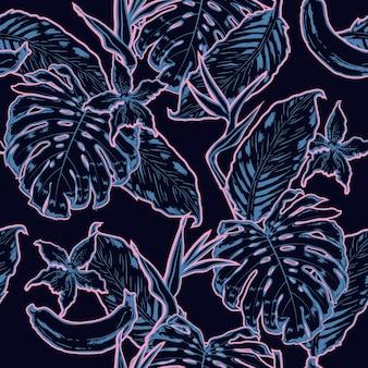 Overzicht hand tekening exotische bladeren naadloze patroon.